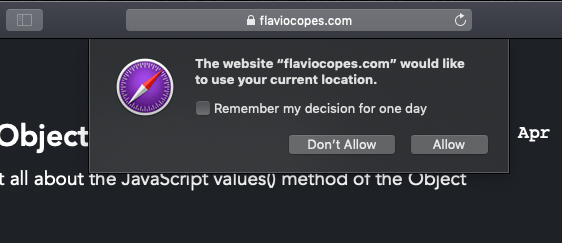 The permission screen in Safari